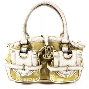 Just Cavalli Canvas Logo & White Leather Bag